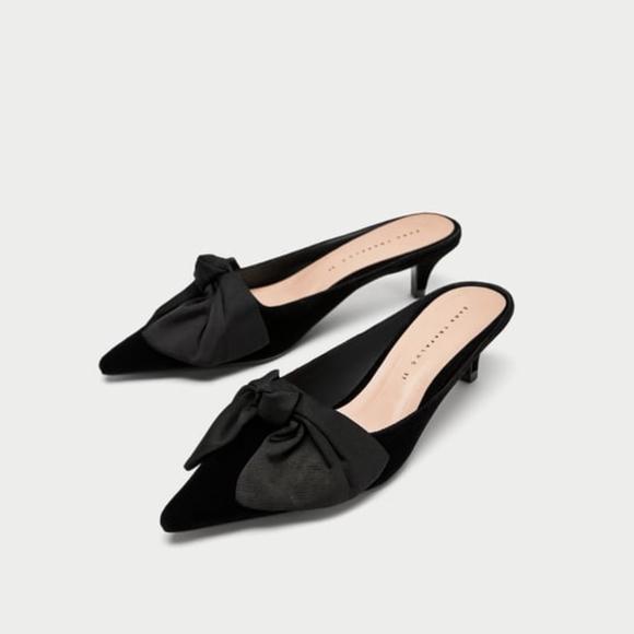 e0f1dc6612428 Zara Shoes   Kitten Heel Mules W Bow Nwt 35 5   Poshmark